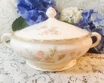 Vintage Pope Gosser China Sterling Bowl with Lid - Rosebank Pattern