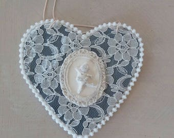 shabby heart hanging, wood and lace