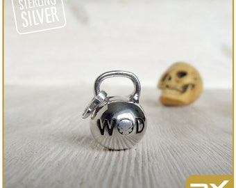 crossfit kettlebell pendant WOD jewelry Fitness gift crossfit mom accessory Sterling Silver Kettlebell charm Weight charm cross fit