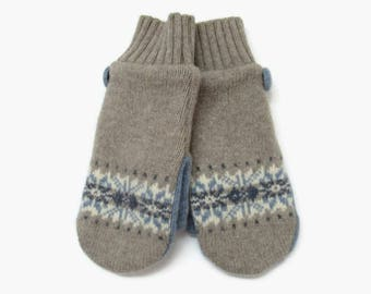 Wool Mittens // Fleece Lined Felted Wool Mittens // Taupe and Blue Snowflake Fair Isle Stripe Felted Wool Sweater Mittens