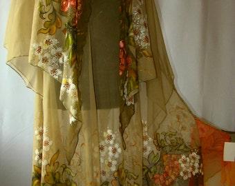 Dress.Natural silk dress - handmade artwork, silk painting, khaki floral dress, rowan