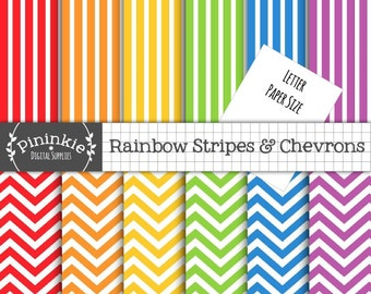 8.5x11 Chevron Digital Paper, Letter Size Rainbow Digital Scrapbook Paper, Striped Paper, Instant Download, Commercial Use