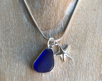 Handmade Cobalt blue natural sea glass necklace with silver starfish
