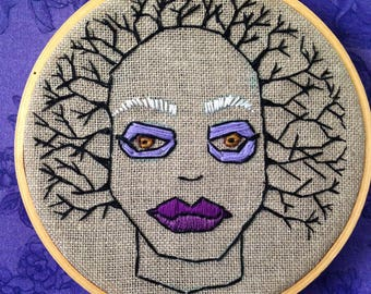 Winter is coming, Modern Embroidery, Wall Art, Nature Goddess