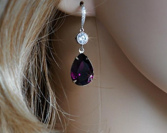 Handmade Swarovski Amethyst Purple Pear Crystal Dangle Earrings, Bridal, Wedding (Sparkle-2568)