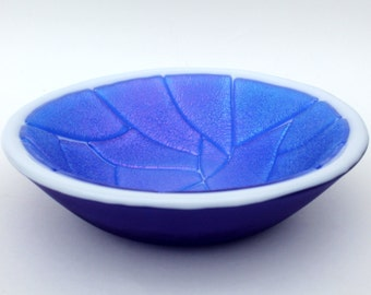 Iridescent Blue, White and Cobalt Blue Fused Glass Bowl