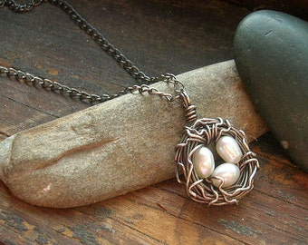 Rustic Bird's Nest necklace Sterling Silver nest necklace with white freshwater pearls mothers day mother grandmother