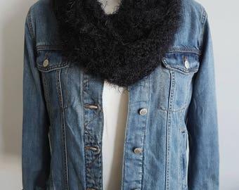 Crochet Infinity scarf, loop scarf, circle scarf, black  scarf, vegan scarf, chunky scarf