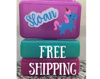 Free Shipping Personalized Unicorn School Box - Personalized Pencil Box/Art Supply Box/storage box - Most Popular Back to School Gift