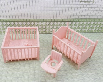 Marx Pink  Traditional Play Pen Potty Chair  and Crib Soft Plastic Nursery  Dollhouse Toy Furniture Baby room