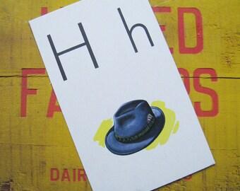 Vintage Large Flash Card - H is for Hat - Great Illustration - 1958