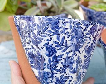 Blue and White Italian Leaf Flourish Planter (Ready to Send)