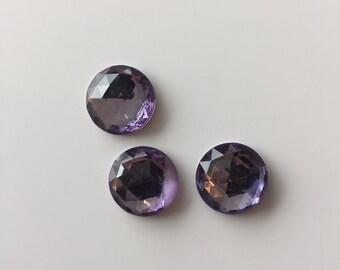 Vintage acrylic lucite faceted cabochon - Lavender purple - 15mm round - 3 pieces