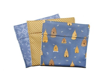 Bee Gift, Eco Sandwich Bags, Reusable Snack Bags, Beehive Print, Adult Snack Bags, Save the Bees, Fold Over Bags, Baggie Set, Sewn Gifts