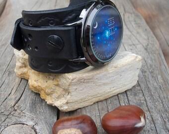 Men's/Women's leather watch, Night blue Sky wrist watch, Touch LED Watch, Leather cuff watch