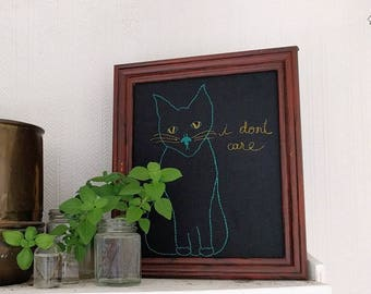 I Don't Care - Framed Embroidery Art