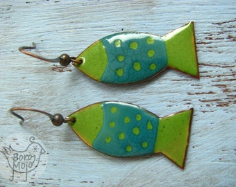 Green-blue fish copper enamel earrings - Natural torch fired jewelry