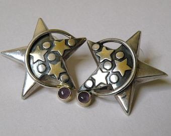 Sterling Silver Starry Earrings
