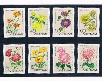 Flower Illustration Postage Stamps | beautiful flowers - vintage postal stamps from VIetnam to collect or craft: upcycle collage decoupage