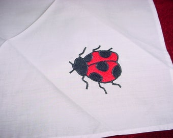 Vintage LADY BUG Appliqued Embroidered White Cotton Handkerchief ~ Beautiful!  UnUsEd!