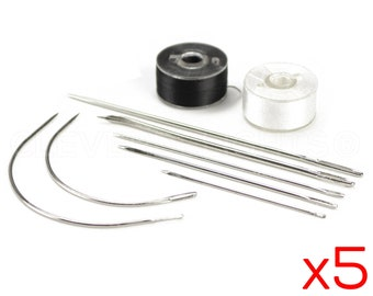 5 Sets - 9 Piece Needle and Thread Kit - Stainless Steel Hand Repair Needles - Home Sewing Repair Set - Camping Survival Emergency Kit