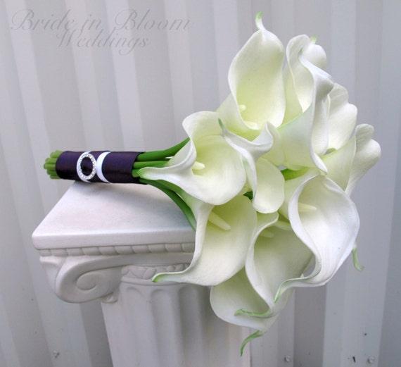 Bridesmaid bouquet white calla lily wedding bouquet junglespirit Gallery