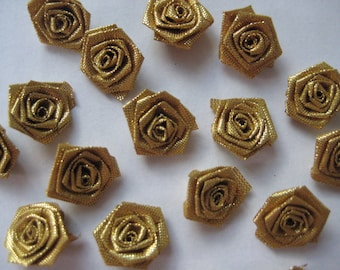 Metallic Gold Flowers Rosettes Appliques 5/8 inch for Sewing, Crafting, Scrapbooking, Embellishment, Doll Clothing, 1.5 cm, 30 or 100 pieces
