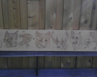 Mantle Sign Headboard handmade Wood Burning Wildlife Wolf Deer Rustic Reclaimed Knotty Pine Decor Antler Wedding Cabin Nursery Wall art USA