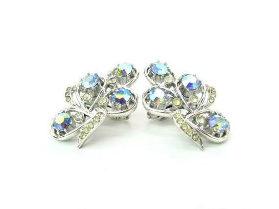 Vintage Coro England Aurora Borealis Rhinestone Ear Climber Earrings