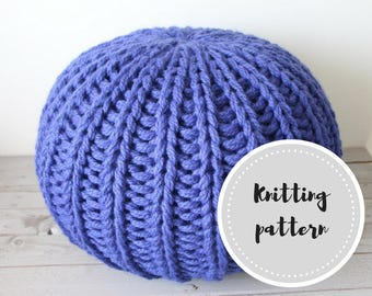 Chunky knit pouf PDF pattern with stuffing instructions