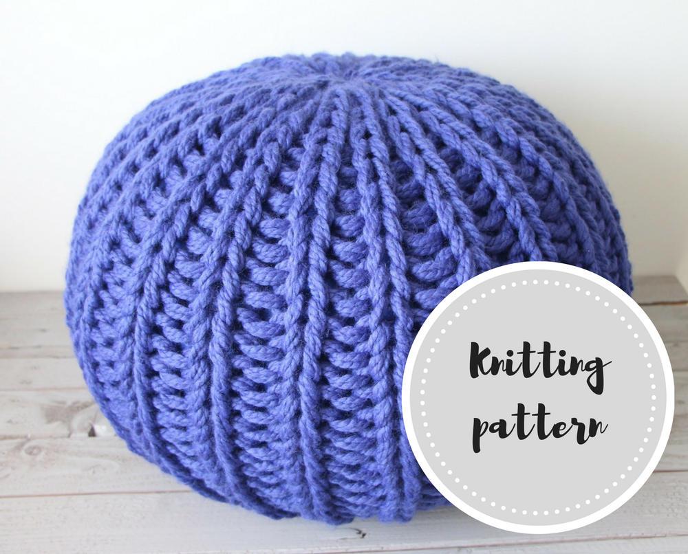 Chunky knit pouf PDF pattern with stuffing instructions