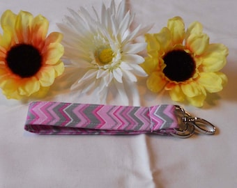 Keychain Wristlet - Pink and Grey Chevron