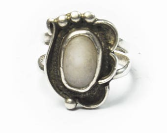 Handcrafted Sterling Silver Oval MOP Dot Ring 20mm Size 7.5