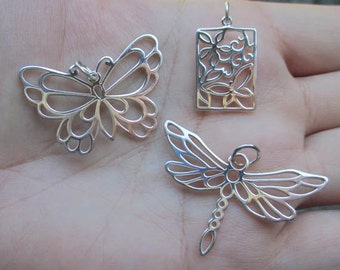 Sterling Silver Large Butterfly Pendant, Large Dragonfly Pendant or Butterfly(one pendant)