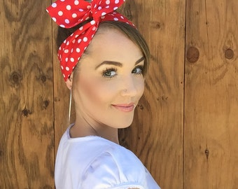 Vintage Inspired Red + White Polkadot Pinup Dolly Bow Headband w/ Easy Twist Wire Rockabilly Dots Hair Fashion Retro Rosie Wrap Head Band