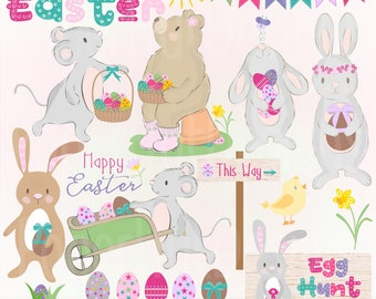 Easter Clipart-Easter Clip Art-Easter Egg Hunt-Bunny Clipart-Bunny Rabbit-Easter Eggs-Chick-Mice-Bear-Bunting-Daffodils-BUY2GET1MOREFREE
