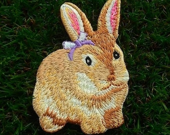 Wild rabbit  embroidered iron-on patch.