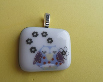 Fused Glass Picture Pendant Sleepy Owl  Print Handmade on Blue Base