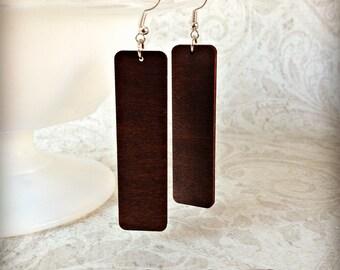 Simple Life Wood Earrings in Gypsy Boho Tichel Accessory Earrings Large Wooden Lightweight Earrings Eco Jewelry
