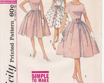 FF Simplicity 4343 Easy MAD MEN Dress Pattern, Full Gathered Skirt Inverted Pleat 1960s Vintage Sewing Pattern, Size 14, Bust 34, UnCUT