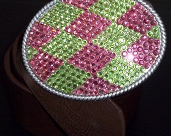 Womens Pink and Green Crystal Bling Belt Buckle