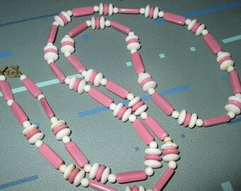 Vintage MOD 60s Pink and White Glass Bead Long Necklace
