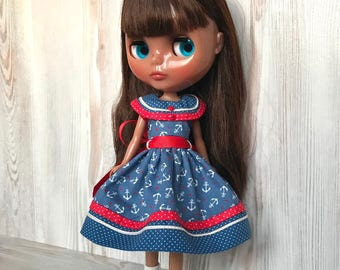 Blythe nautical dress, doll clothes, fashion outfit, 30 cm dolls clothes, 12 inch doll dress, Pullip dress, doll dress, blythe clothing