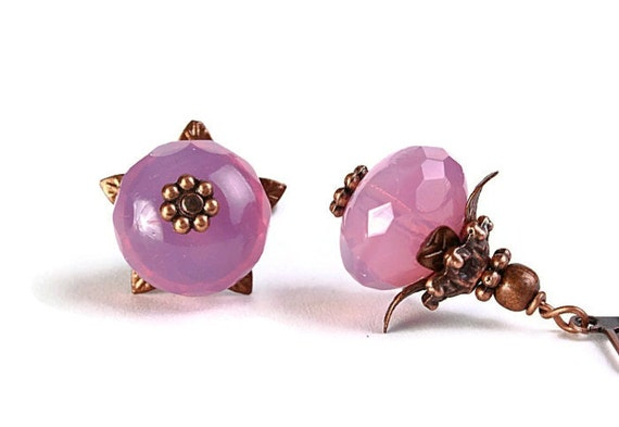 Milky rose Czech glass rondelle and antique copper leverback earrings READY to ship (241)