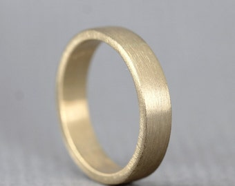 Yellow Gold Men's Wedding Band - 14K Yellow Gold - Matte Finish - 4 mm wide - Mens Wedding Ring - Made in Canada - Commitment Ring
