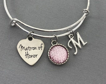 Matron of Honor Gift - Matron of Honor Proposal -  Pink Wedding Jewelry - Wedding -Matron of Honor bracelet - Matron of Honor Jewelry