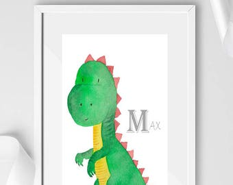 Personalised Bedroom Dinosaur Print / Newborn / Nursery / Bedroom Decor / Birth Print / Boys Bedroom Print / Girls Nursery Print