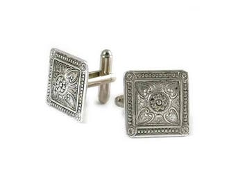 Square Cufflinks Antique Sterling Silver Etched Medallion Neo Victorian Vintage Inspired Cuff Links