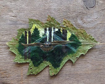 Forest Flight | Leaf Art | Owl Painting |