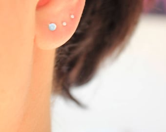 Tiny Swiss Blue Topaz Stud Earrings// Available in 3mm and 4mm Sterling Silver
